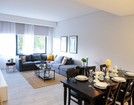 1 BHK Living Area|2 BHK Dining Table + Kitchen